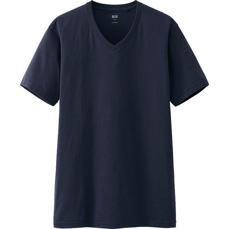 MEN Supima® COTTON V NECK SHORT SLEEVE T-SHIRT, NAVY, large