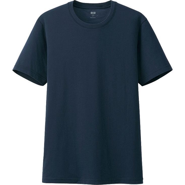 MEN Supima® COTTON CREW NECK SHORT SLEEVE T-SHIRT, NAVY, large
