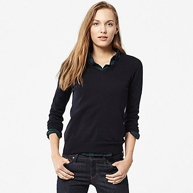 WOMEN Extra Fine Merino V Neck Sweater