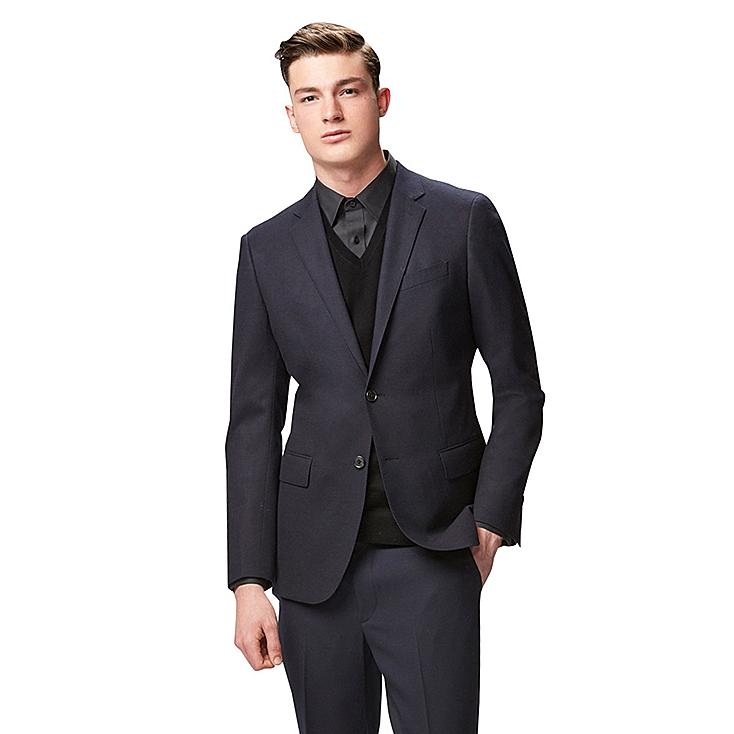 MEN STRETCH WOOL SLIM FIT JACKET, NAVY, large