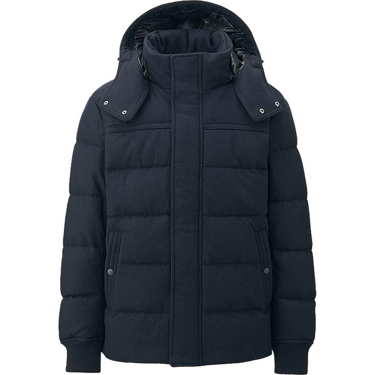 MEN STRETCH WOOL BLENDED DOWN JACKET, NAVY, large
