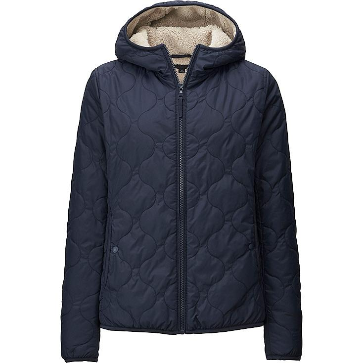 WOMEN FAUX SHEARLING QUILTED PARKA, NAVY, large