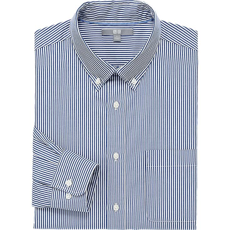 MEN EXTRA FINE COTTON BROADCLOTH STRIPED LONG SLEEVE SHIRT, NAVY, large