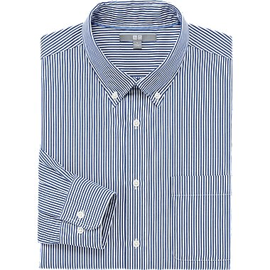 MEN EXTRA FINE COTTON BROADCLOTH STRIPED LONG SLEEVE SHIRT, NAVY, medium