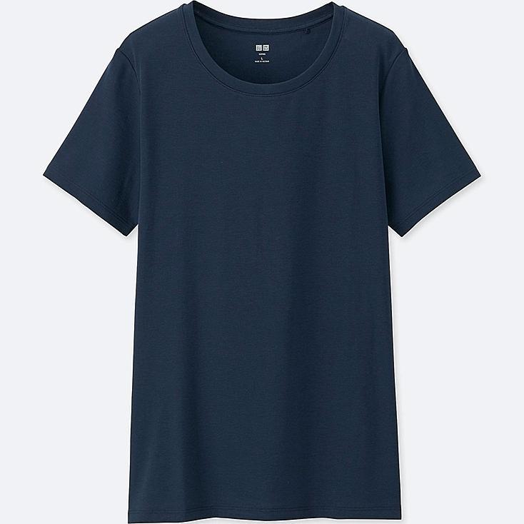 Women Supima® Cotton Crew Neck T-Shirt, NAVY, large