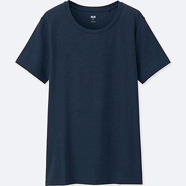 Women Supima® Cotton Crew Neck T-Shirt, NAVY, medium