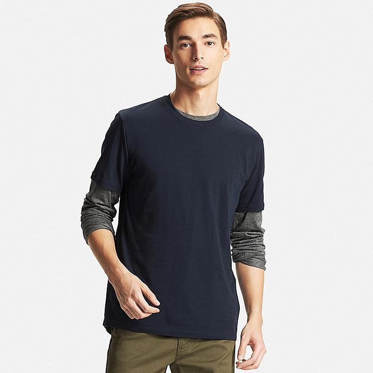 Men DRY Crew Neck T-Shirt, NAVY, large