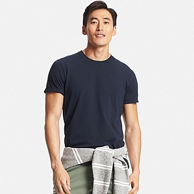 Men Supima® Cotton Crew Neck T-Shirt, NAVY, medium