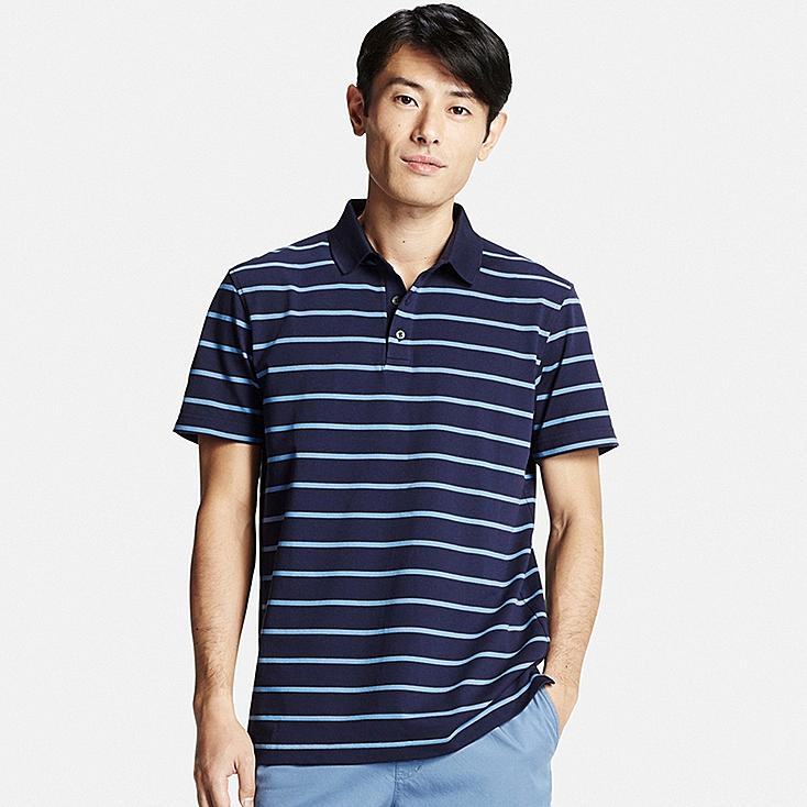Men DRY PIQUE STRIPED POLO SHIRT, NAVY, large