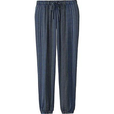 Womens Draped Geometric Print Pants, NAVY, medium