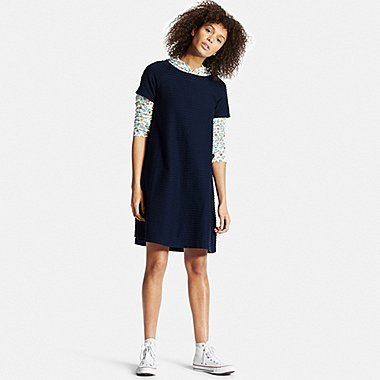Womens Jacquard Short Sleeve Dress, NAVY, medium