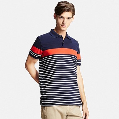 Mens DRY Pique Striped Polo Shirt, NAVY, medium