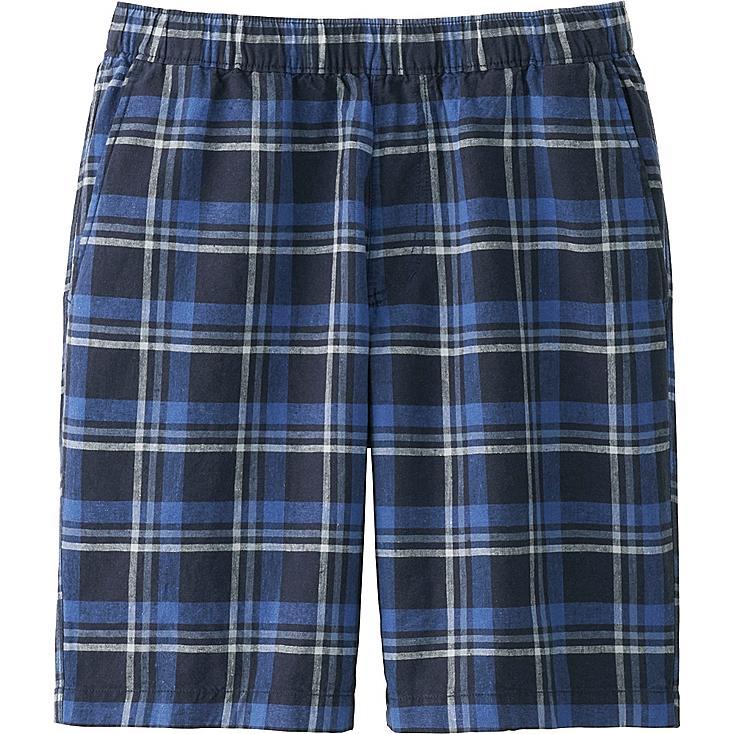 Men Linen Cotton Elastic Waist Shorts, NAVY, large