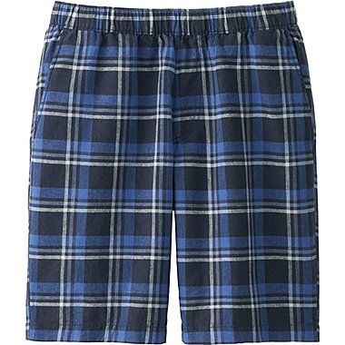 Mens Linen Cotton Elastic Waist Shorts, NAVY, medium