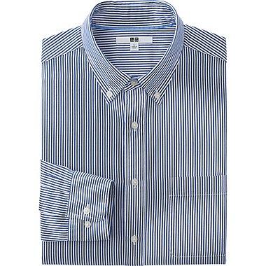 Mens Extra Fine Cotton Broadcloth Printed Dress Shirt, NAVY, medium