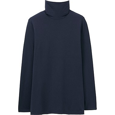 WOMEN HEATTECH TURTLENECK T-SHIRT, NAVY, medium