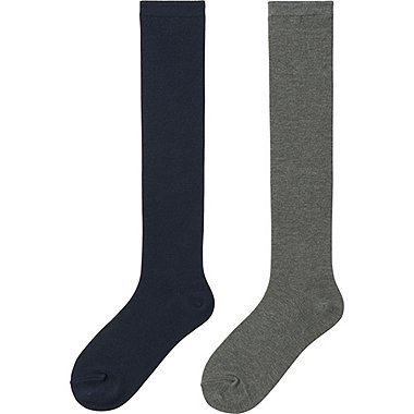 WOMEN HEATTECH KNEE HIGH SOCKS 2 PAIRS, NAVY, medium
