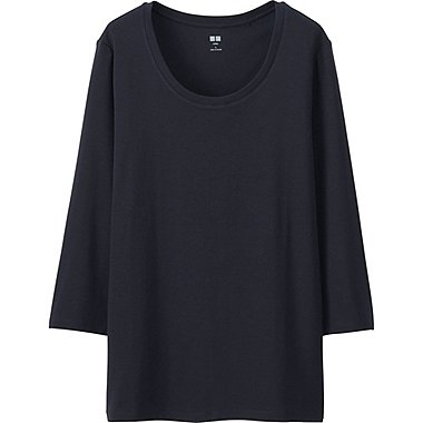 WOMEN Supima Cotton Crew Neck 3/4 Sleeve T