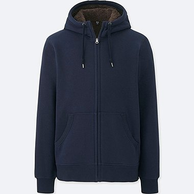 MEN PILE-LINED SWEAT LONG SLEEVE FULL-ZIP HOODIE, NAVY, medium