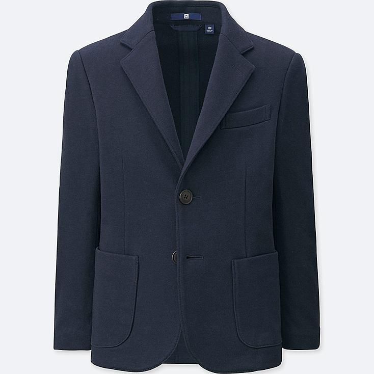 BOYS Jersey Tailored Jacket, NAVY, large