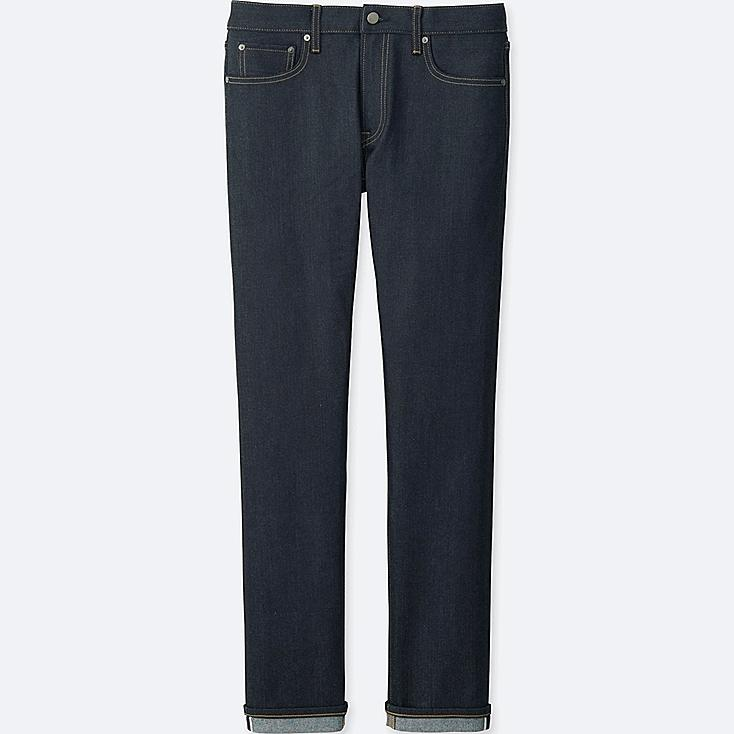 Men Stretch Selvedge Slim Fit Jeans, NAVY, large