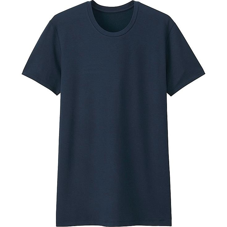 MEN HEATTECH EXTRA WARM T-SHIRT (SHORT SLEEVE), NAVY, large