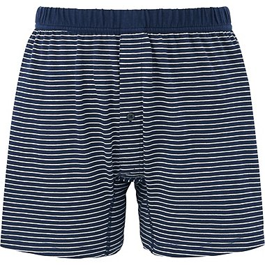 MEN SUPIMA COTTON KNIT STRIPED TRUNKS, NAVY, medium