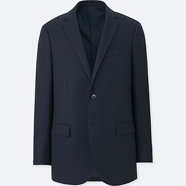 MEN STRETCH WOOL SLIM FIT JACKET, NAVY, medium