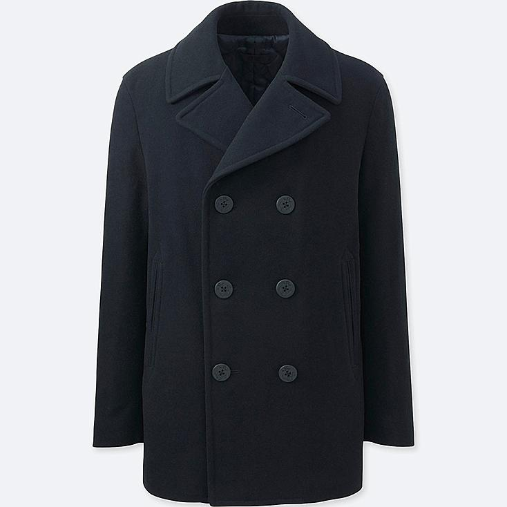 MEN WOOL BLEND PEA COAT, NAVY, large