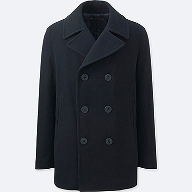 MEN WOOL BLEND PEA COAT, NAVY, medium