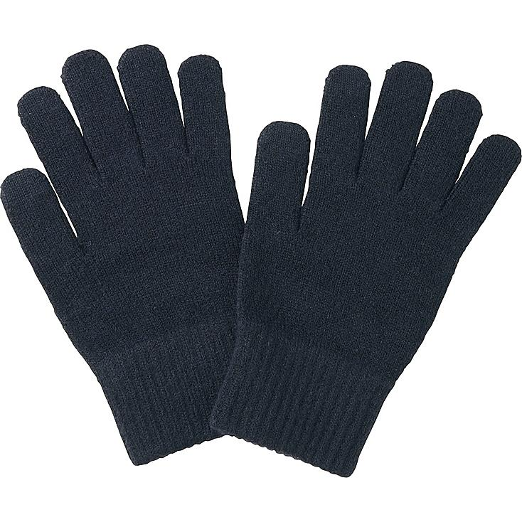 MEN HEATTECH KNIT GLOVES, NAVY, large