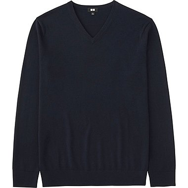 MEN EXTRA FINE MERINO V-NECK SWEATER, NAVY, medium
