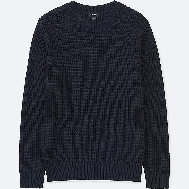 MEN MIDDLE GAUGE WAFFLE CREWNECK SWEATER, NAVY, large