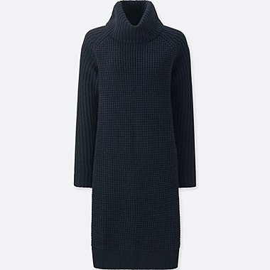 WOMEN LOW GAUGE KNIT WAFFLE DRESS, NAVY, medium