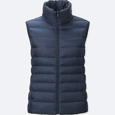 Womens Ultra Light Down Vest, NAVY, medium