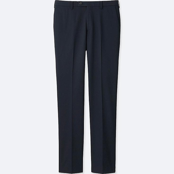 MEN STRETCH SLIM-FIT FLAT FRONT PANTS, NAVY, large