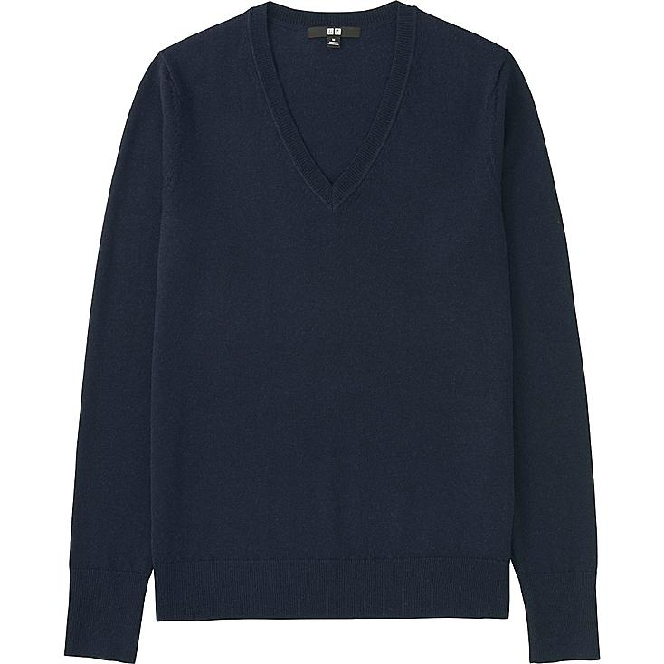 Women Extra Fine Merino Wool V-Neck Sweater, NAVY, large