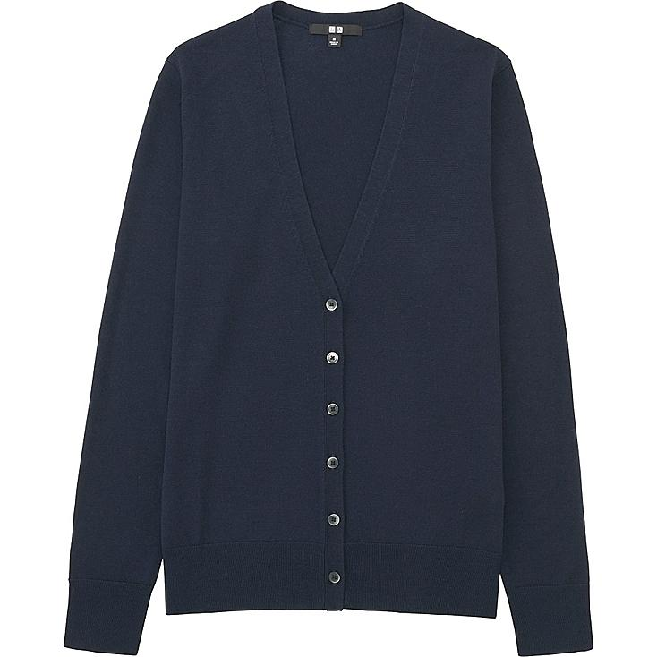 Women Extra Fine Merino Wool V-Neck Cardigan, NAVY, large