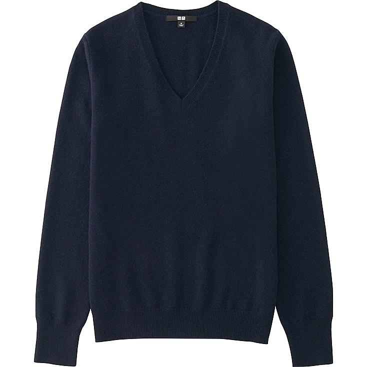 Women's Cashmere V-Neck Sweater, NAVY, large