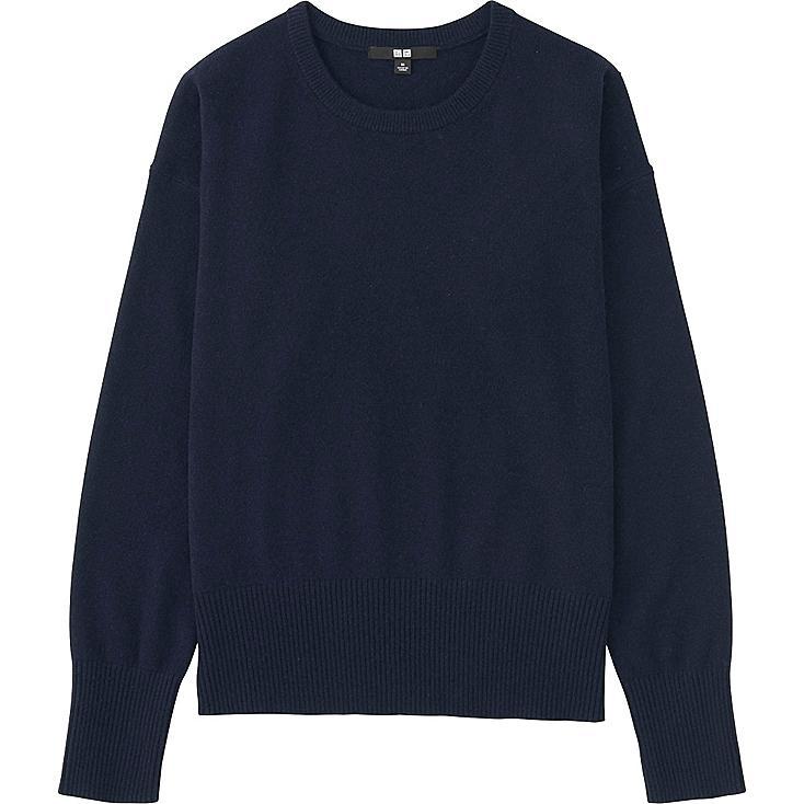 Women Cashmere Crew Neck Sweater, NAVY, large