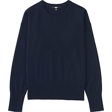 Womens Cashmere Crew Neck Sweater, NAVY, medium