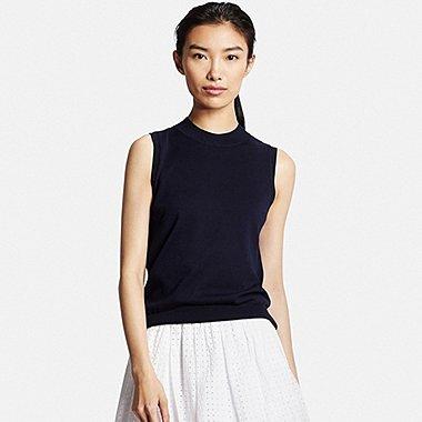 Womens UV Cut Sleeveless Sweater, NAVY, medium