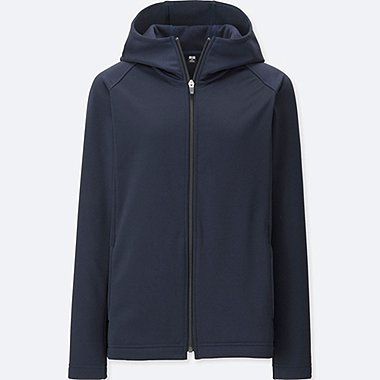 WOMEN BLOCKTECH FLEECE LONG SLEEVE FULL-ZIP HOODIE, NAVY, medium