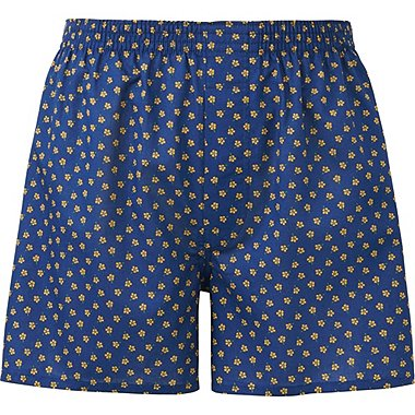 MEN WOVEN PRINTED TRUNKS, NAVY, medium