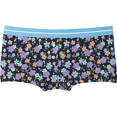 WOMEN BOY SHORTS (FLOWER), NAVY, medium