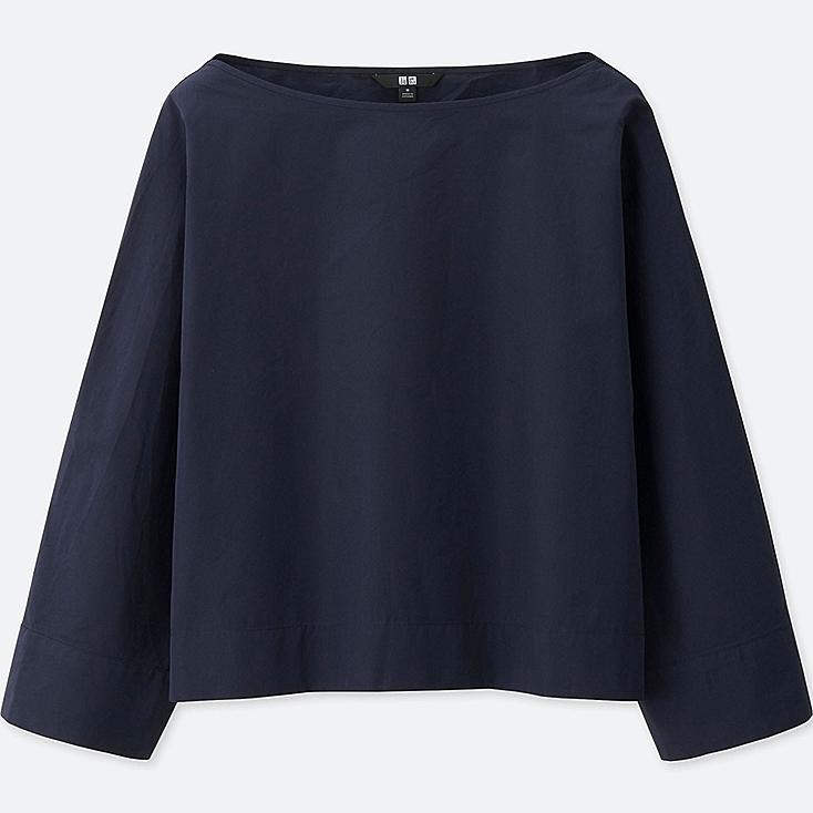 WOMEN EXTRA FINE COTTON 3/4 SLEEVE T BLOUSE, NAVY, large