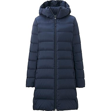 WOMEN ULTRA LIGHT DOWN STRETCH HOODED COAT, NAVY, medium