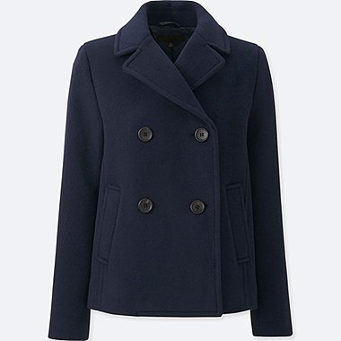 WOMEN WOOL BLEND PEA COAT, NAVY, medium