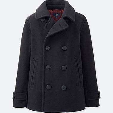 BOYS FLEECE PEA COAT, NAVY, medium
