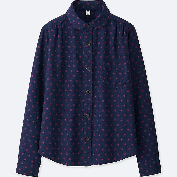 GIRLS FLANNEL PRINTED LONG SLEEVE SHIRT, NAVY, large